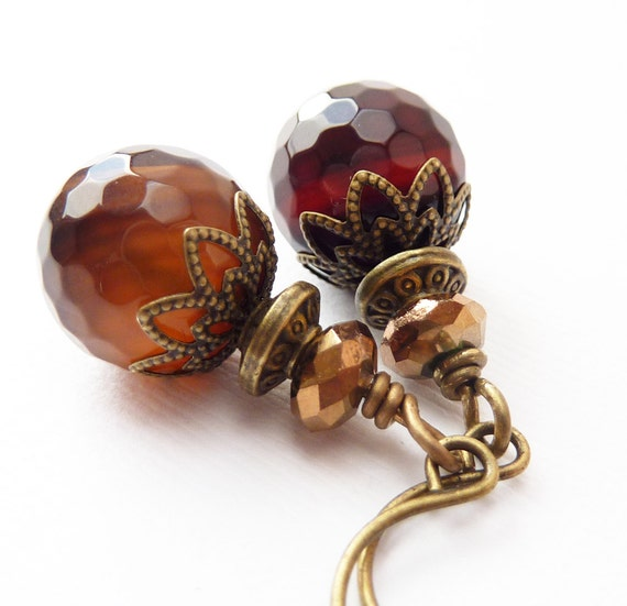 Amber Stone Earrings, Vintage Style, Bronze Links, Dangles, CIJ Sale 20% Off