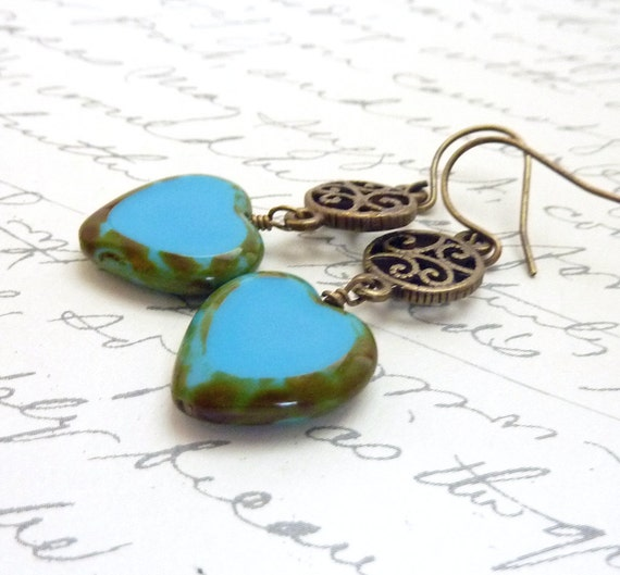 Turquoise Earrings, Glass Beaded Hearts, Bronze Filigree, Wire Wrapped, Picasso Glass Earrings, Periwinkle Blue