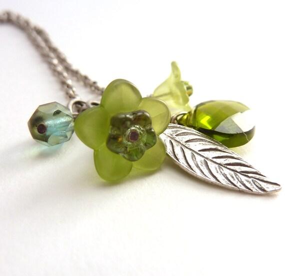 Silver Leaf Charm Necklace, Swarovski Crystal Briolette, Olivine Green, Hill Tribe Silver Leaf, Lucite Flowers, Delicate Necklace