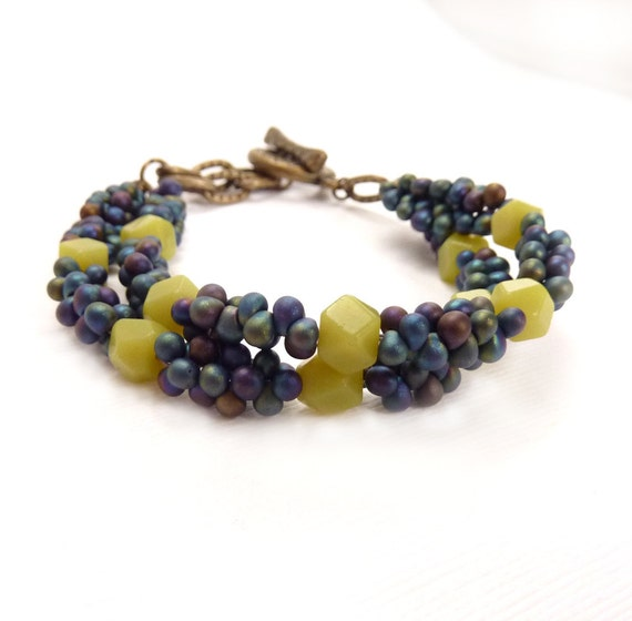 Beaded Jade Bracelet, Blue Seed Beads, Multistrand