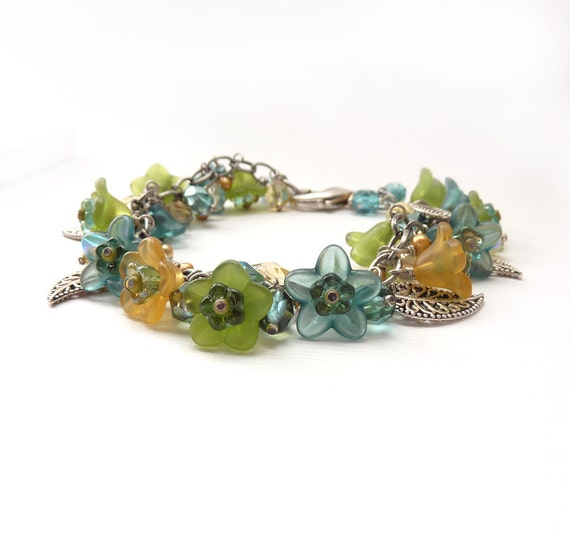 Flower Bracelet in Teal and Lime with Silver Leaves, Bouquet