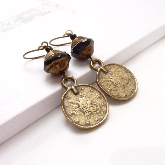Boho Brass Earrings, Ancient Style Coins, Beaded Earrings, Byzantine, Bohemian Style Jewelry
