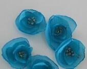 Turquoise Chiffon Flower Embelishments