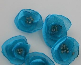 Turquoise Chiffon Flower Embelishments