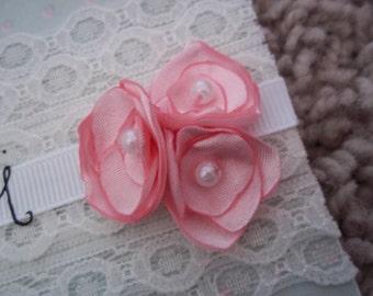 Pink Fabric Flower Embellishiments (set of Five)
