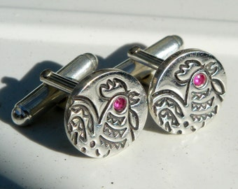 Sterling silver cuff links - Zodiac collection - Year of the Rooster