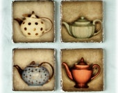 Hall Teapot Marble Tile Coasters