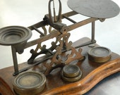 Antique English Brass and oak postal scale