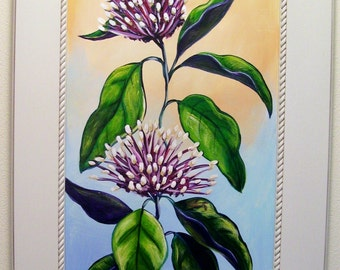 Purple Starburst Plant Painted on Recycled Cabinet Door