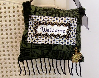 Tribal Welcome Boutique Pillow Handmade from Fabric Scraps