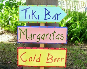 Tiki Bar Sign Hand Painted on Reclaimed Wood