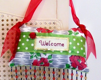 Welcome Boutique Pillow Vintage Look with Roses Handmade from Fabric Scraps
