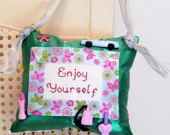 Enjoy Yourself Boutique Pillow Handmade from Fabric Scraps