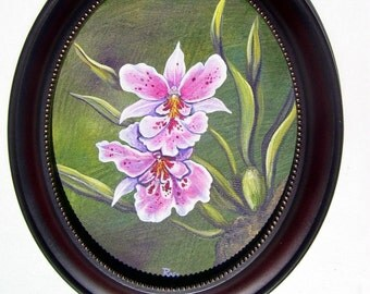 Pink Pansy Orchid Original Painting in Oval Frame 8 x 10 Canvas Floral Still Life