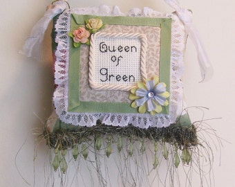 Queen of Green Boutique Pillow Handmade from Fabric Scraps