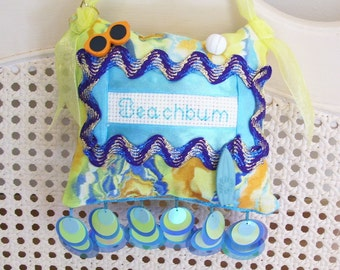 Beachbum Boutique Pillow Handmade from Fabric Scraps