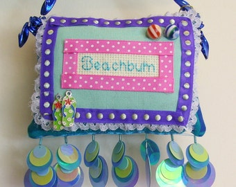 Beachbum Boutique Pillow Hand Crafted  From Fabric Scraps