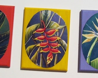 Tropical Blooms Magnets Miniature Art (Set of Three)