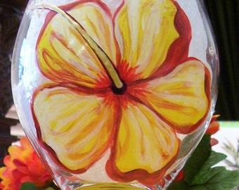 Yellow Hibiscus Wine Glass Hand Painted Globe Wine Glass
