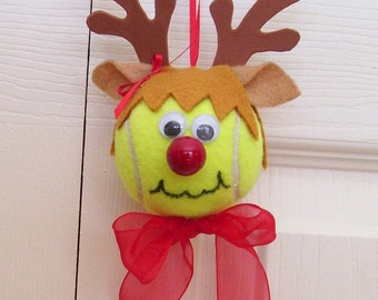 Christmas Reindeer Ornament Tennis Ball (Girl)