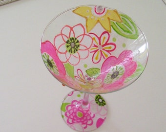 Floral Martini Wine Glass Hand Painted and Decorated Stained Glass Look (Custom Order Only)