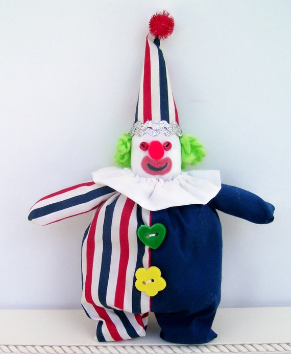 Patriotic  Clown Ornament/Shelf Sitter Handmade from Fabric Scraps