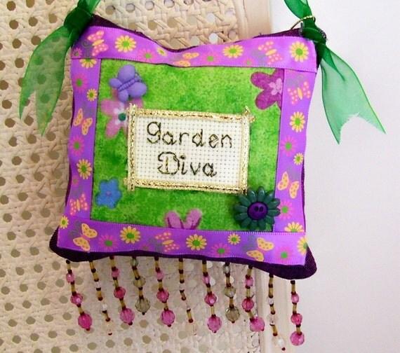 Garden Diva Boutique Pillow Handmade from Fabric Scraps