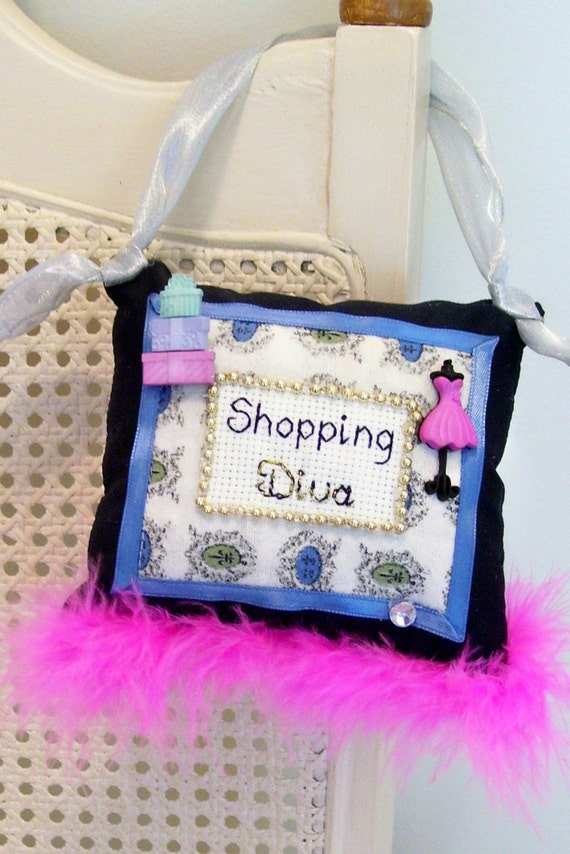 Shopping Diva Boutique Pillow Handmade from Fabric Scraps