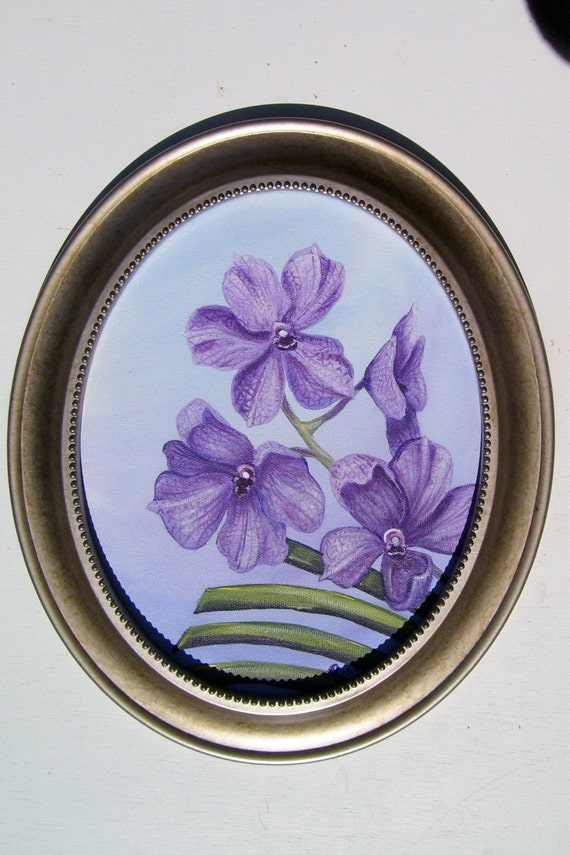 Purple Vanda Orchid on Oval Canvas with Frame Hand Painted Floral Still Life