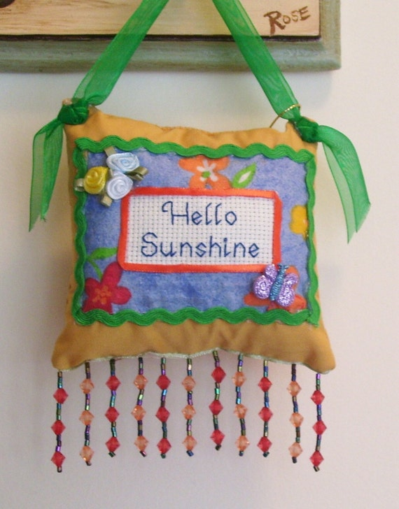 Hello Sunshine Boutique Pillow Handmade from Recycled Fabric