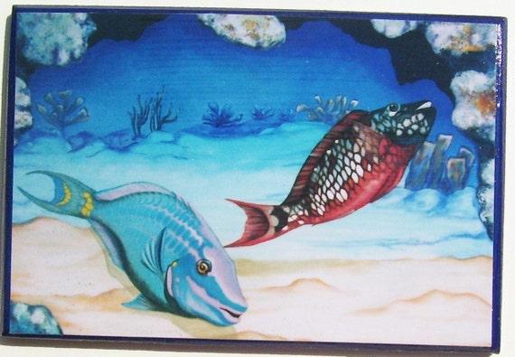 Tropical Fish Magnet Miniature Art Parrot Fish Pair