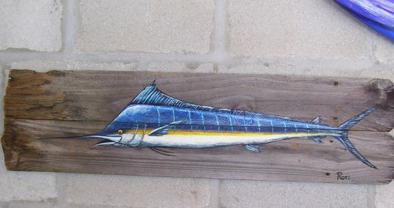 Marlin Sportfish Hand Painted on Reclaimed Wood Fence Boards (Custom Order Only) Father's Day