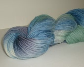 Hand dyed yarn, fingering weight, 306 yards, wool and nylon, Summer Sky