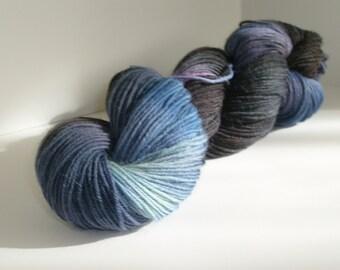 Hand dyed yarn, fingering weight, 306 yards, wool and nylon, More Dark Matter