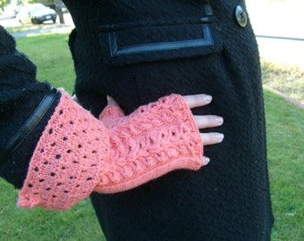 Heart Lace Gauntlets,Pattern for fingerless gloves, PDF file,Adult size small to medium