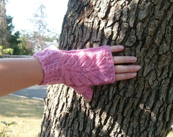 Loopy Leaves Mitts,Pattern for fingerless gloves, PDF file,Adult size