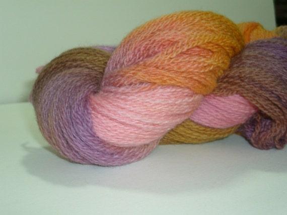 Hand dyed yarn, fingering weight, 440 yards, Peruvian Highland Wool, Sherbet