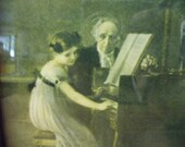 Framed Vintage Print, Lithograph, The First Piano Lesson, Under Glass Ready to hang