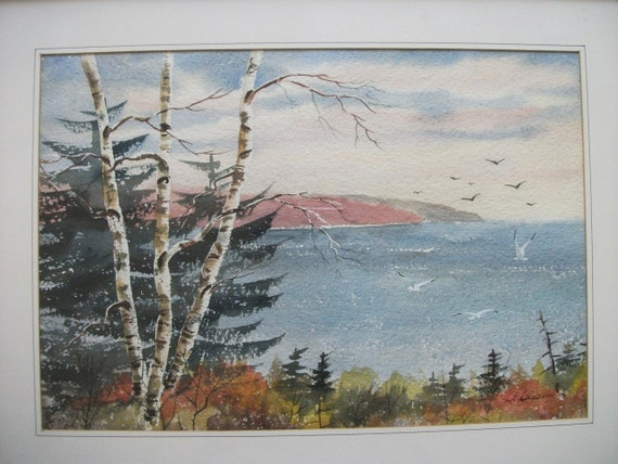 Horseshoe Bay,  Egg Harbor, Watercolor Framed Under Glass, Signed L E Olson