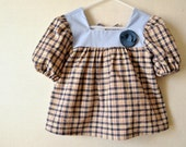 Blue Plaid Tunic, Cotton,  Eco Friendly, OOAK Size 2T, Ready to Ship