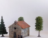 The Hermitage Series - Chapel at Les Baux-de-Provence - Handmade French Country Sanctuary -  HO Scale Building by Bewilder and Pine