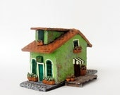 Mint Green Burano House - Summer in Venice Italy - Handmade Miniature Clay Building, Sidewalk and Dock  - HO Scale