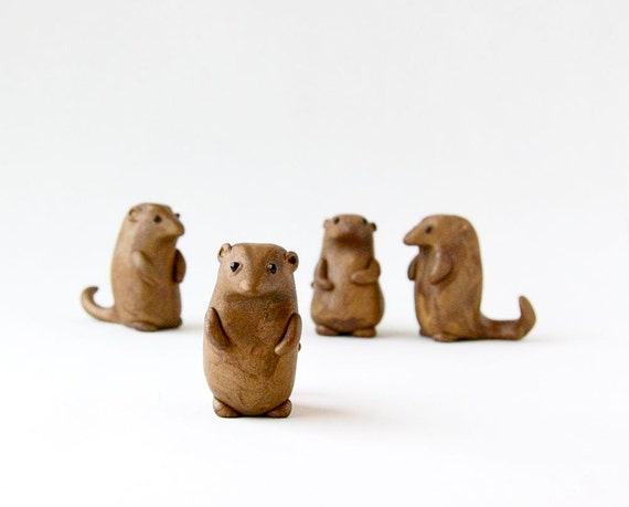 Groundhog Day Figurine - Miniature Groundhog by Bewilder and Pine