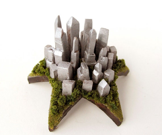 Modern Cityscape Upon a Star - Tiny Silver City Skyline Rising Above The Trees by Bewilder and Pine