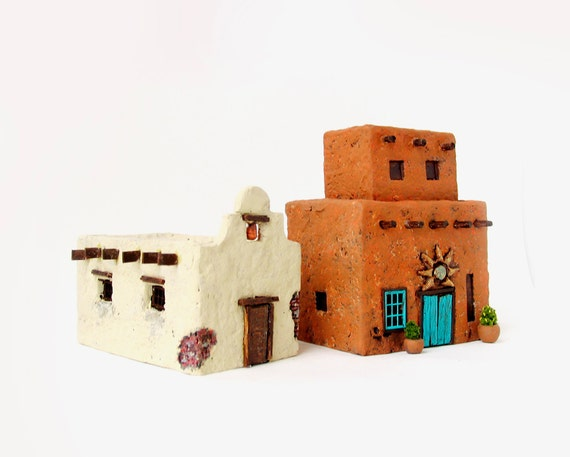 Final Payment - RESERVED for amychuck  - Zephyr Wind And Cowboy Church - Handmade Miniature Santa Fe Style Adobe Houses - HO Scale