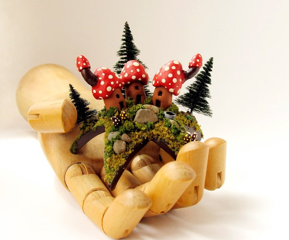 Trio of Woodland Mushroom Fairy Houses Upon a Star - Tiny Red Capped Hamlet and Pine Trees by Bewilder and Pine
