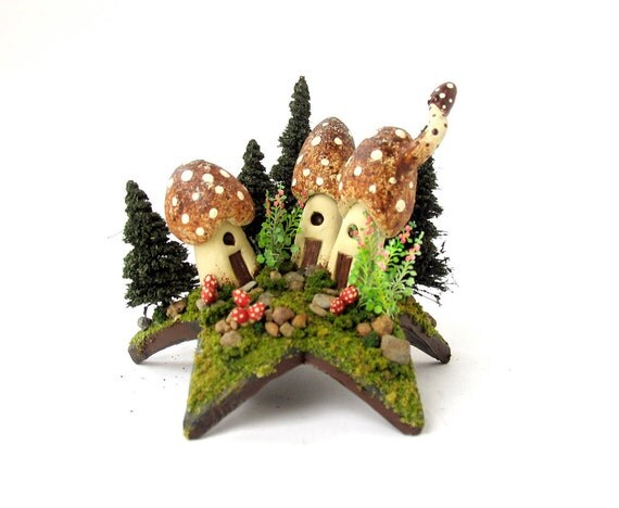 Summer Bloom Fairy House Series - Mushroom Fairy Houses Upon a Star with Flowering Hollyhocks