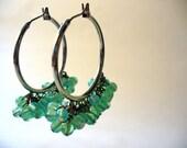 Adaleta Milky Teal Green Italian Glass Beaded Cluster Hoop Earrings