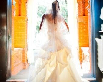 Mantilla Veil with Alencon lace - Johanna
