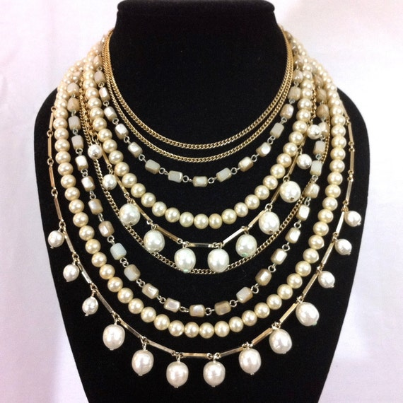 RESERVED for Miss Anna-Marika.  Pearl Statement Necklace- Festival